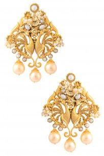 Gold Plated Kundan Stones Textured Peacock Motif Earrings Gold Plated Layered Jhumki Drop Thappa Earrings #perniaspopupshop #Jomayana #goldplated #ethnic #bridal #jewellery #shopnow #happyshopping
