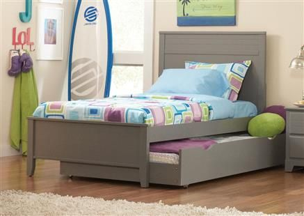 ashton grey wood twin bed wtrundle