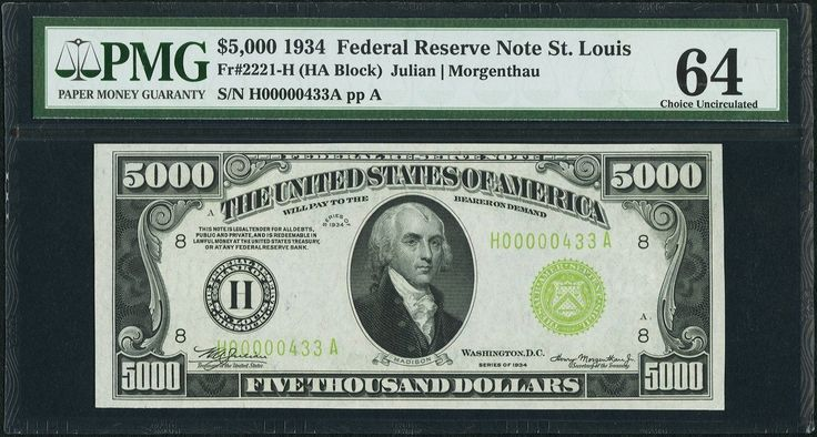 Details about FR. 2221-H 1934 $5,000 FRN FEDERAL RESERVE NOTE PMG CHOICE UNCIRCULATED-64
