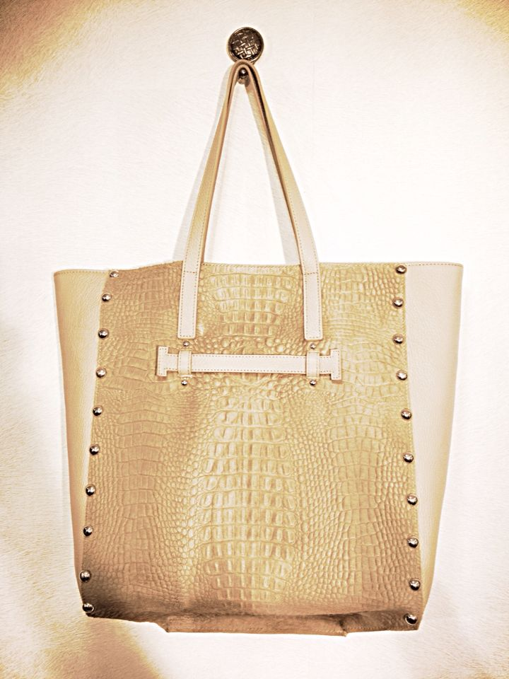 Shopper bag with leather and fur