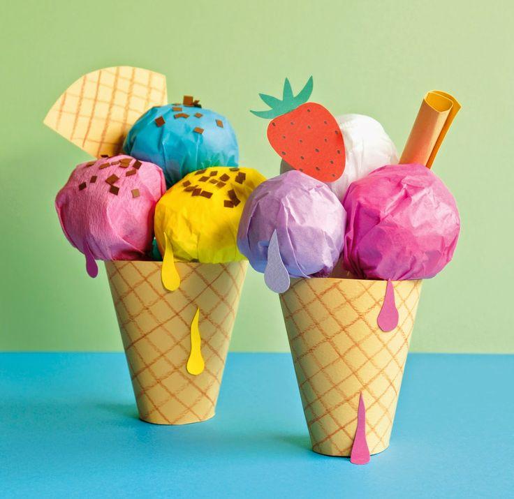 Voor het vakantienummer van tijdschrift INKIE maakte ik deze ijsjes van papier, die de INKIE-lezeressen zelf kunnen knutselen! ...