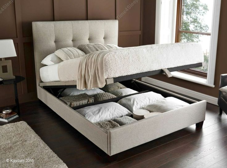 Kaydian Walkworth Ottoman Storage Bed   Oatmeal Fabric