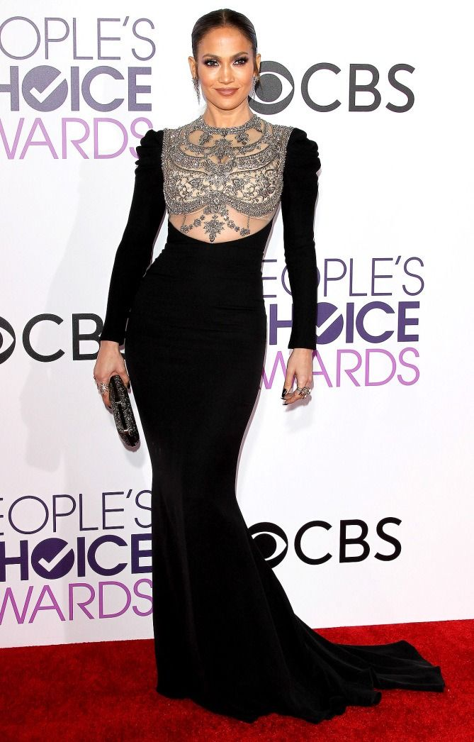 Jennifer Lopez in a black embellished dress at the People's Choice Awards