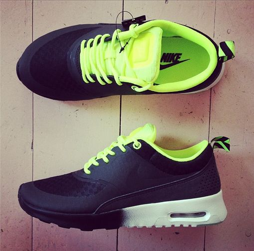 womens nike air max thea yellow green