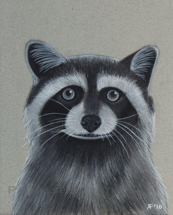 Raccoon Art Print Raccoon Drawing Black and by rachelspetpaintings