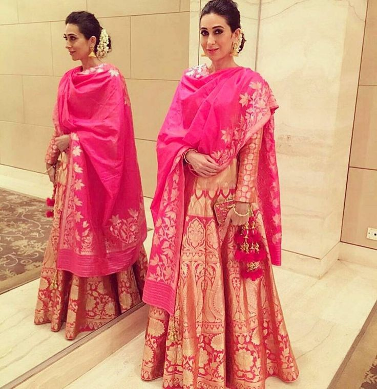 The stunning #karismakapoor  Pink party ! FYI : if you choose a single tone outfit  you look taller :) #bridalfashion #lehenga #bridal #pink #films #fashion #style #lifestyle #Mumbai #kapoor #kareenakapoorkhan #kareenakapoor #theorangewall by the.orange.wall