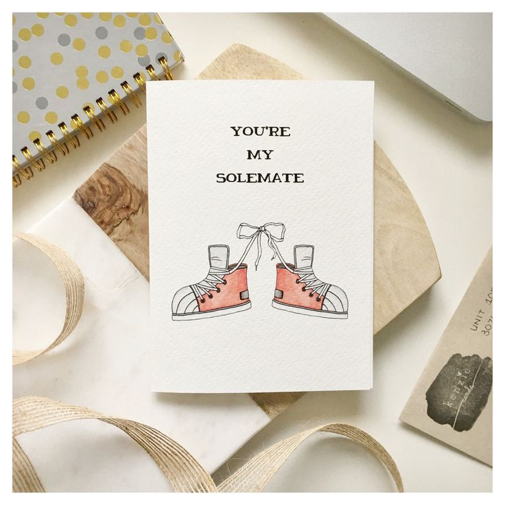 S O L E M A T E S // punny greeting card, love card, Valentine's Day card, anniversary card, punny, punny gift, shoe pun, love pun, pun by kenziecardco on Etsy https://www.etsy.com/ca/listing/504107968/s-o-l-e-m-a-t-e-s-punny-greeting-card
