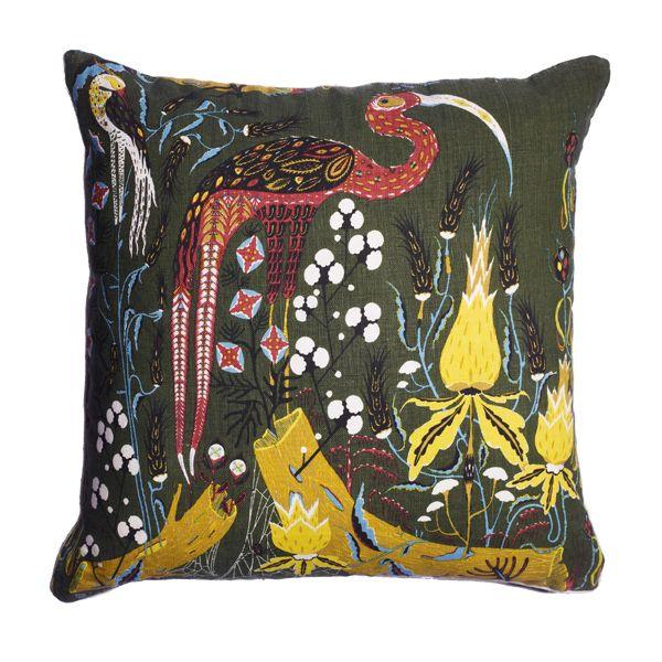 Green Crane cushion by Klaus Haapaniemi.
