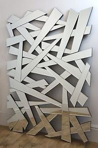 Shards Silver Modern Rectangle Shatters Wall Mirror 48  X 32  X Large | eBay