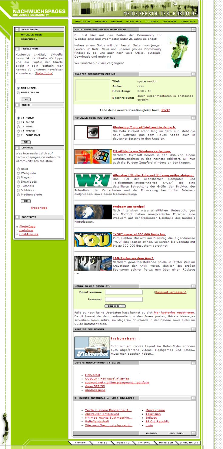 Nachwuchspages website in 2002