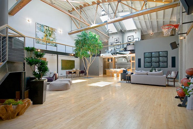 Warehouse converted bachelor pad with indoor basketball court 00 new york penthouse - A loft apartment bachelor pad ...