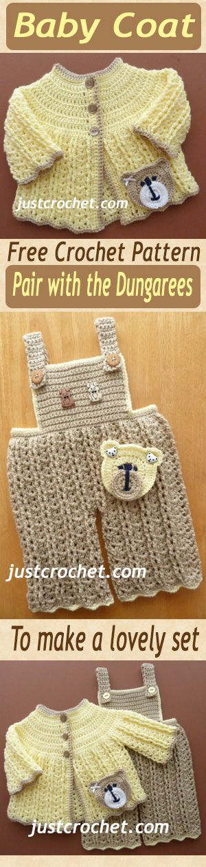 Free baby crochet pattern for cute coat. Team it up with matching dungarees. #crochet