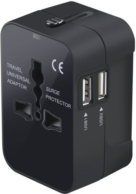 Travelmore Universele Reisadapter met 2 USB Poorten - Wereldstekker - Voor meer dan 150 landen - Engeland (UK) - Amerika (USA) - Australië - Azië - Zuid Amerika - Afrika – Reisstekker – Wereldadapter – Reis Verloopstekker