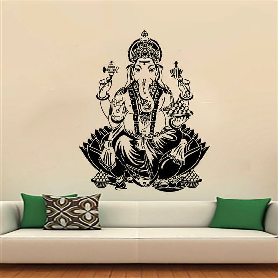 Wall Decals Buddha Hand Hamsa Elephant Indian Oum Om Decal Vinyl Sticker Home Decor Interior Design Art Bedroom Yoga Studio MN788