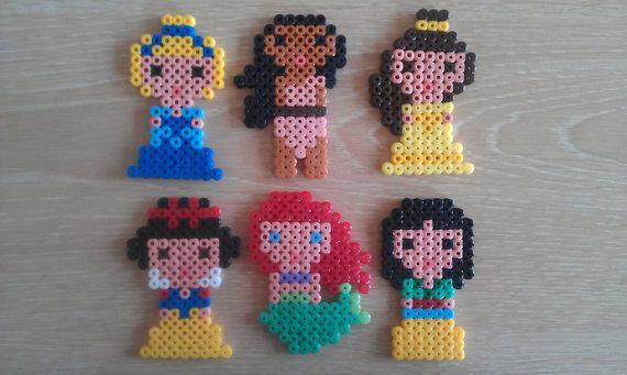 Disney princess hama magnets set of six by WebdaksShop on Etsy, £5.00