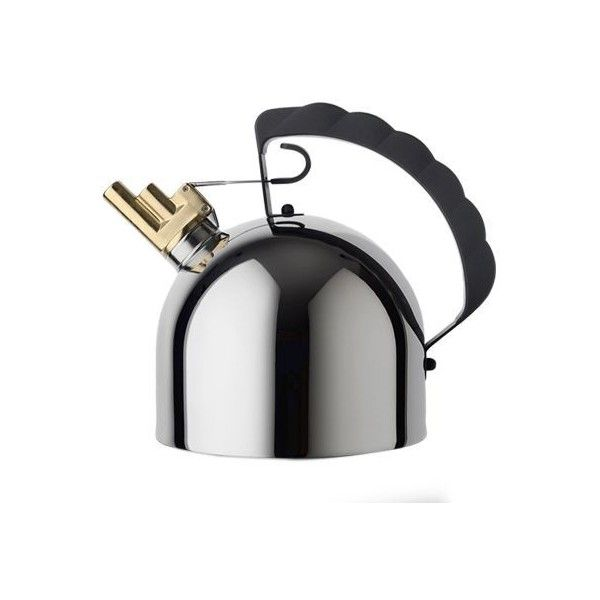 Alessi Home 9091 Kettle (940 ILS) ❤ liked on Polyvore featuring home, kitchen & dining, cookware, silver, whistling kettle, alessi cookware, alessi kettle, whistling teakettle and alessi tea kettle