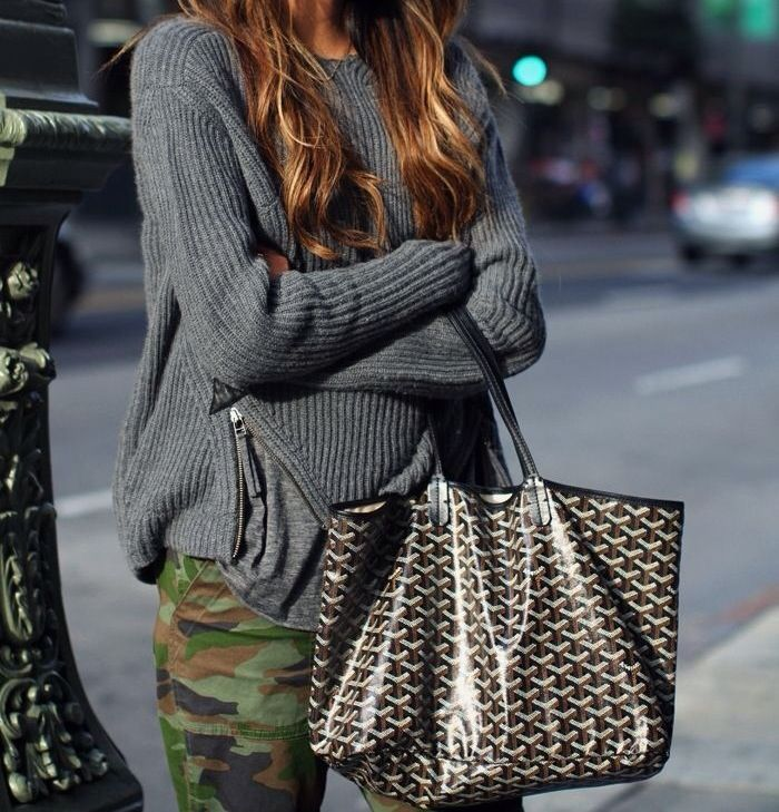 Goyard, camo pants  grey sweater...love this look....would wear with NIKES.