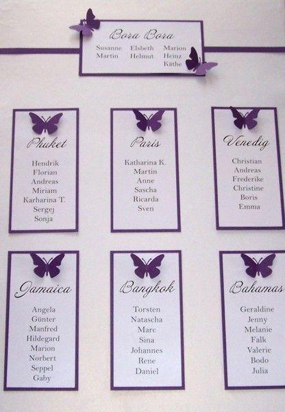Tischplan hochzeit schmetterlinge gr n pink lila - Vintage hochzeit ideen ...