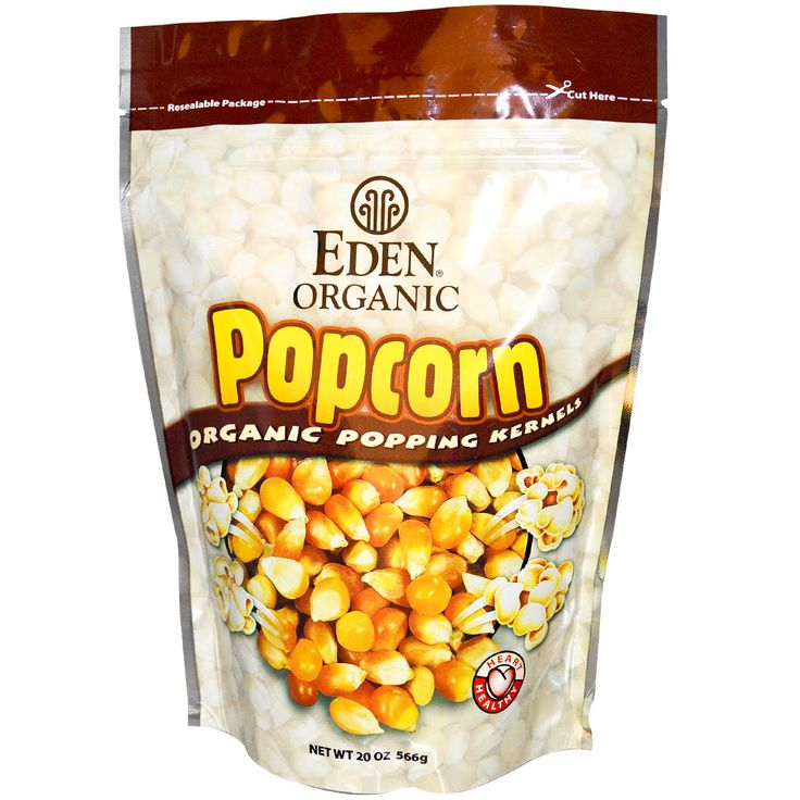 Eden Organic Popcorn. Yummy! - 1/2 cup of kernels 2 Tbsp of of Organic Extra-Virgin Coconut Oil, 1 Tbsp of Almond oil, 1/2 tsp of unrefined seasalt - more for sprinkling over popcorn. Place ingredients in large pot with lid on high heat. Once the popcorn begins to pop shake  pan every few seconds. When popping slows turn off heat and shake. Turn off heat before the popping stops. Better to have unpopped kernels than lots of burned poppcorn.  It's the best popcorn you've ever tasted! Enjoy!