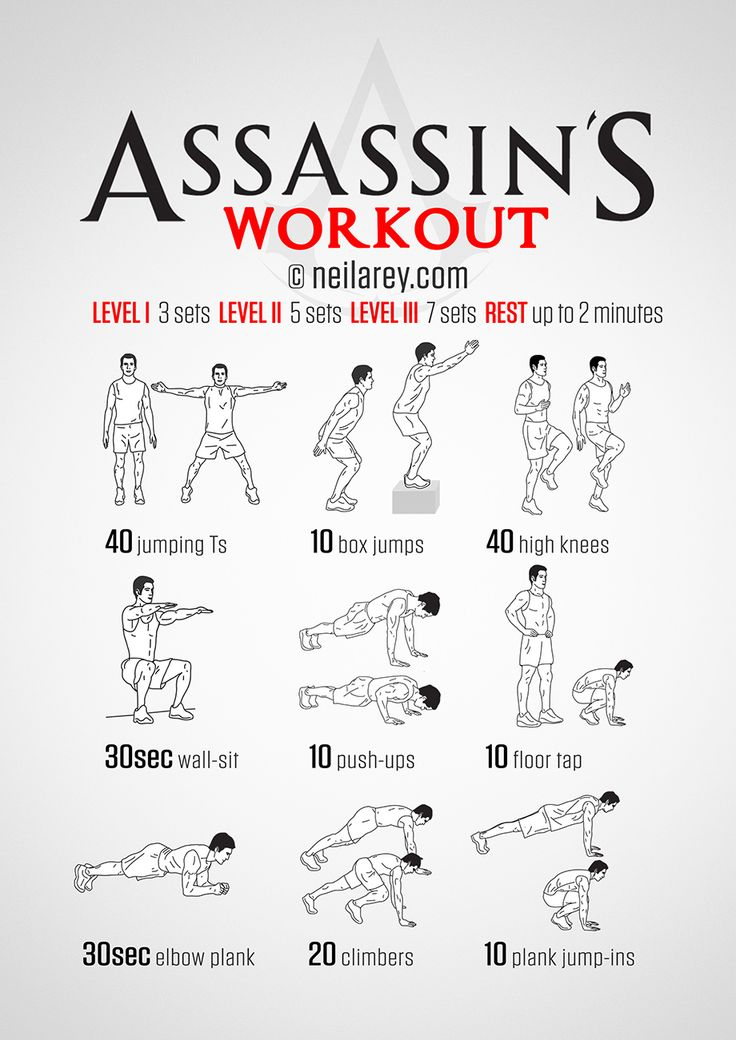 No-equipment total body assassin prep workout. Print & Use.