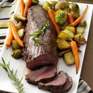 Beef Tenderloin with Roasted Vegetables Recipe from Taste of Home (Winter)