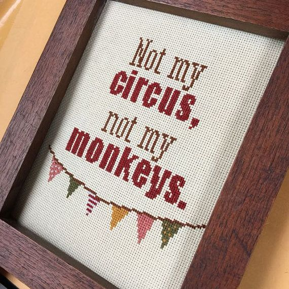 PATTERN: Not my circus not my monkeys pdf cross stitch by LittleAndLittle