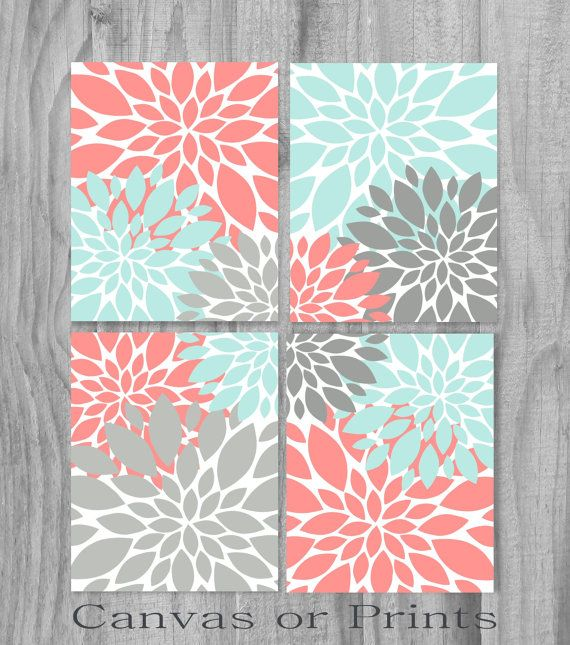 Beautiful 4 piece artwork flowers SET Gallery Wrapped Canvas OR Prints, you choose - Set of 4. Coral, 2 shades of Gray, light Turquoise, White