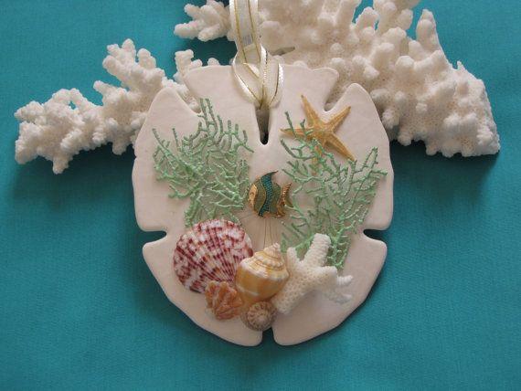 Sand Dollar Shell Ornament Seashell Ornament by TheSleepySeahorse