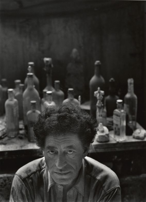 """Alberto Giacometti, Paris, France, 1954 by Arnold Newman. """"When I make my drawings... the path traced by my pencil on the sheet of paper is, to some extent, analogous to the gesture of a man groping his way in the darkness."""""""