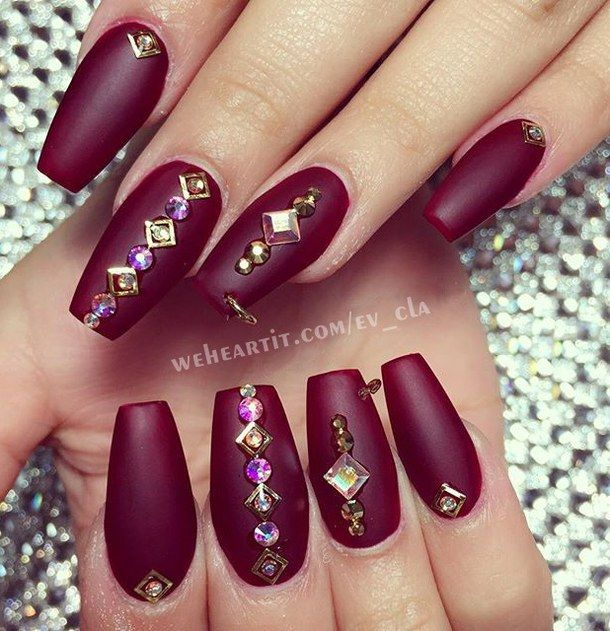accessories, beauty, burgundy, matte nails, pretty, pretty nails ...