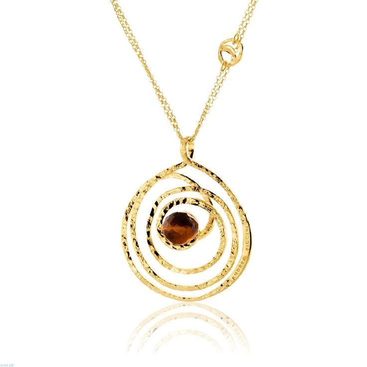 Κολιέ Αriadni από επιχρυσωμένο ασήμι 925 με tiger eye