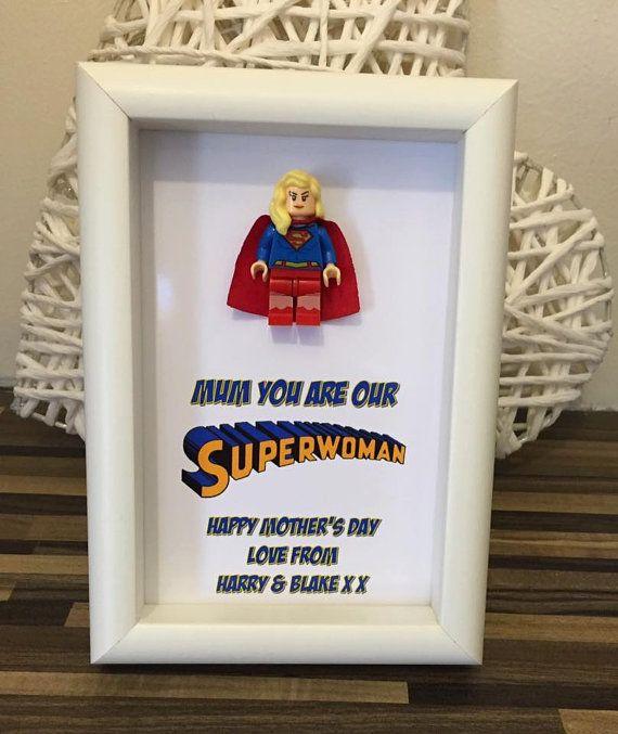Wonder Woman Supergirl Lego Figure Frame by MareesMakesNuneaton