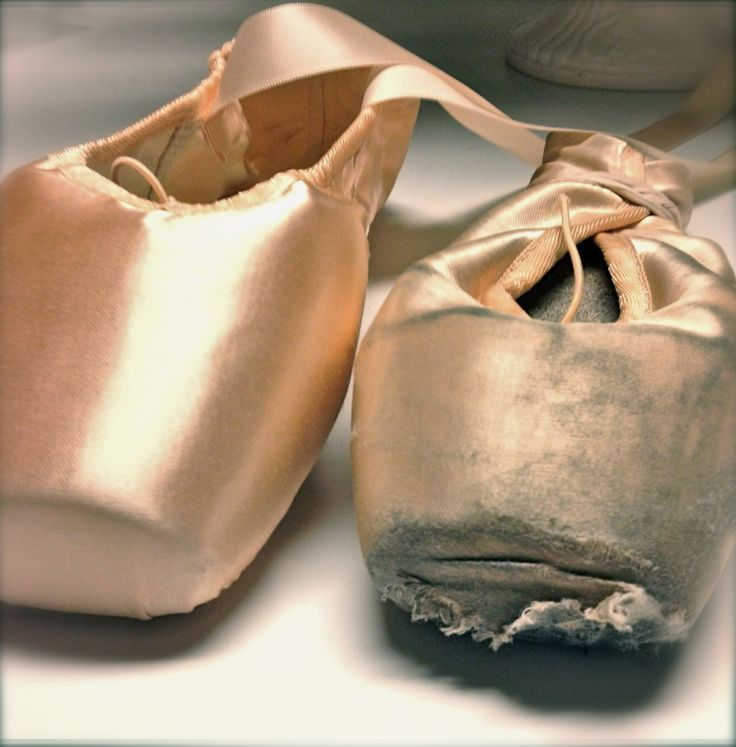 The same style of Bloch pointe shoes, a brand new one and a broken one: