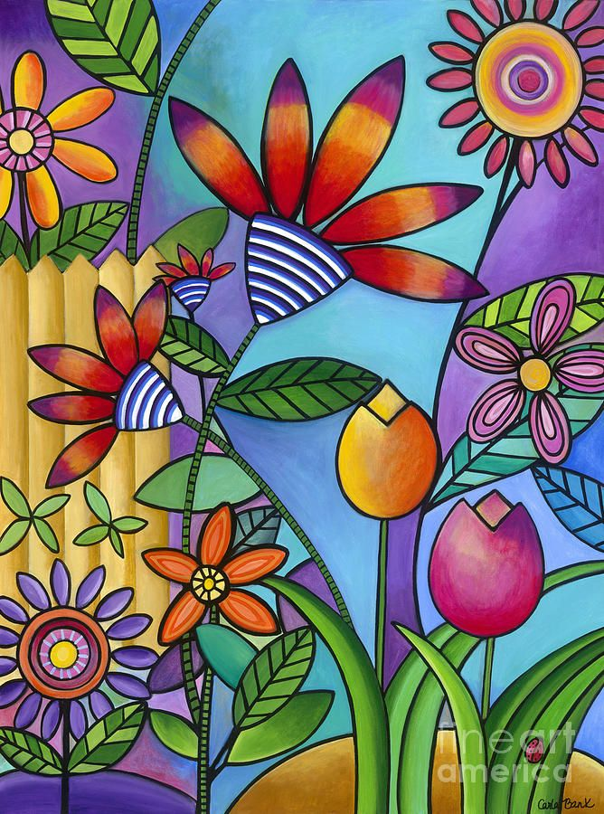 Wild Flowers Painting by Carla Bank ... colorful doodle art styling ...