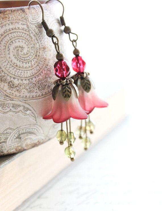 Lucite Flower Earrings Red Dangle Earrings Moss by apocketofposies, $28.00