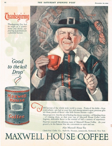 1924 AD Maxwell House Coffee Pilgrims Thanksgiving Advertising