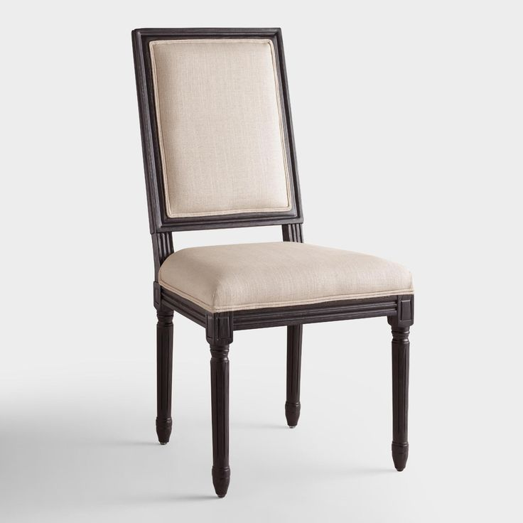 Boasting a timeless silhouette, our square-back dining chairs define elegance. Crafted of birch wood with a painted black finish, they feature natural linen-blend upholstery that adds to their classic appeal.