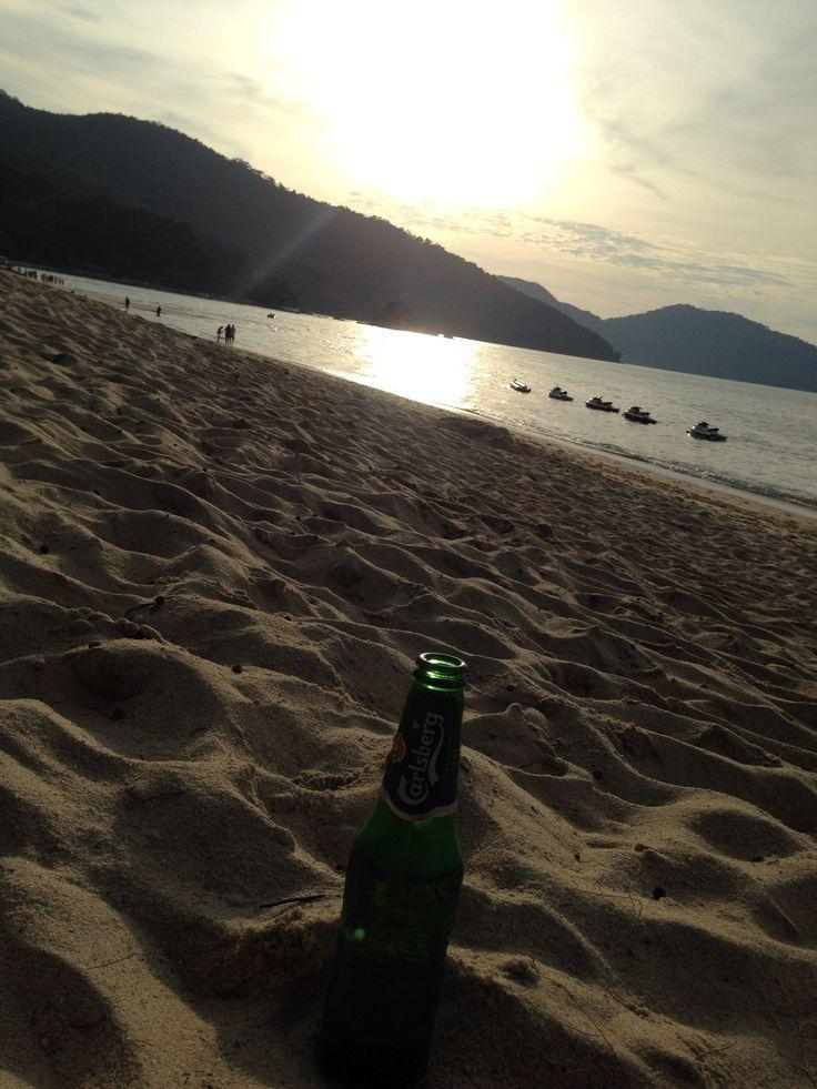 Beautiful sunset #Beer #Sand #Beach #Sunset #Nature #Vacation #Penang