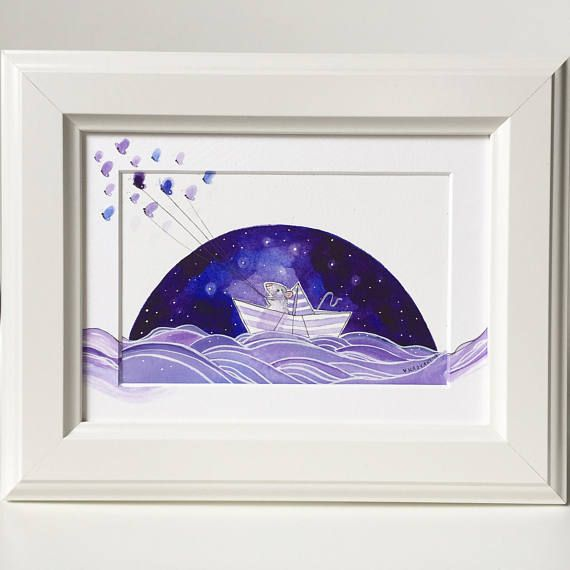 Sailing amidst the Stars - Original Watercolour Painting. Blue, purple hand painted illustration, Nursery painting, night sky, butterflies