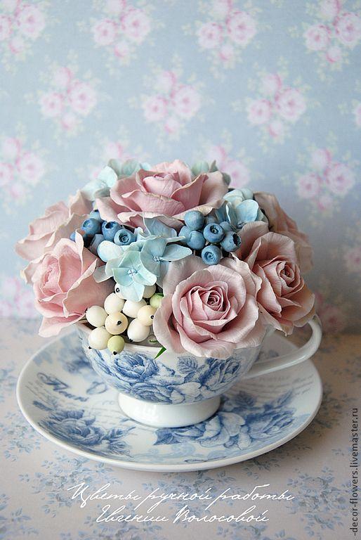 Купить Букет ручной работы, розы, гортензии, ягоды. - голубой, сиреневый, цветы