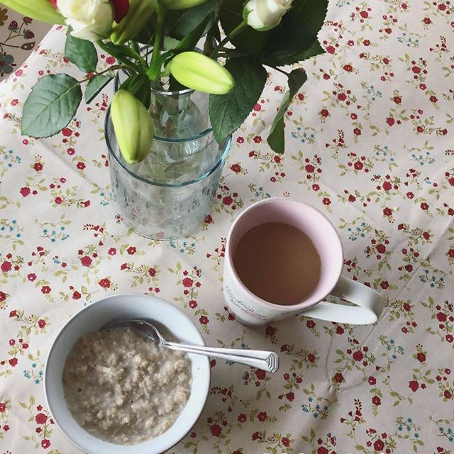 Breakfast. Just before the sun came out. I trekked to the shop this morning after the school run because Id run out of Oat Bran - and I just cant eat my porridge without it. Also I needed to settle my stomach after finding 3 (!) fermenting bananas in the bottom of a school bag this morning. I should have double checked when I told them to clear out their bags on Tuesday.  anyway now Ive my porridge on board and a litre of tea (literally) the day can only get better from here. I hope your…