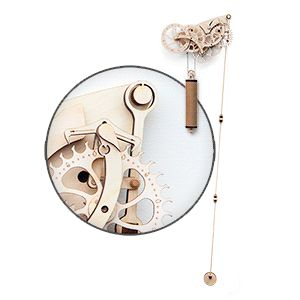 Build your own old school clock. It uses gravity and a pendulum to keep time. Just like the originals built in the 1600s!