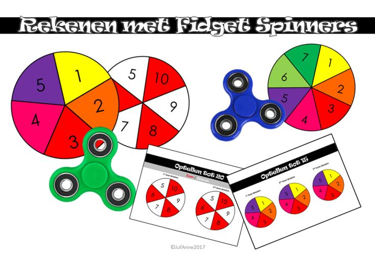 Rekenen met fidget spinners! Automatiseren, keersommen etc. Gratis download.