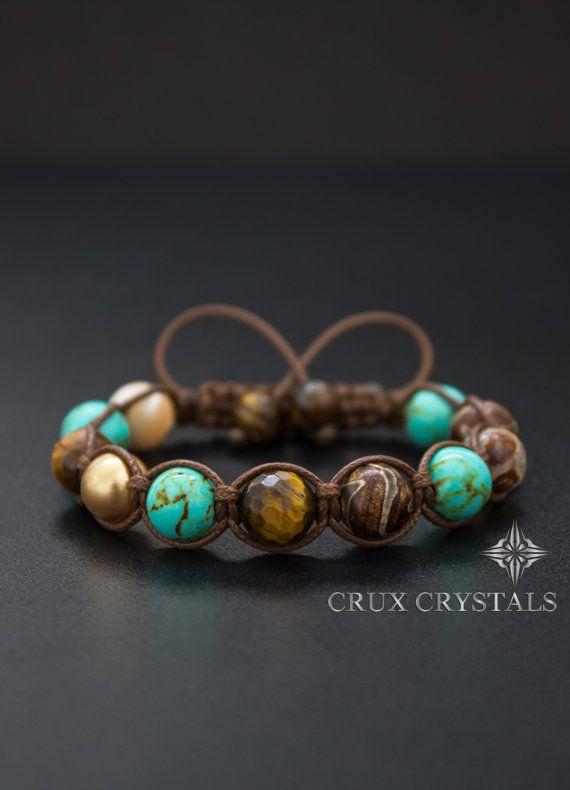 Pulseras paz amor Natural de pulsera de cuentas de por CruxCrystals