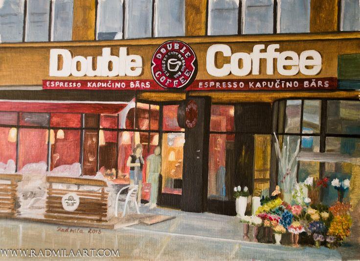 Oil painting of Double coffee restaurant in old Riga, 31*23 cm. Artist - Radmila Filimonova