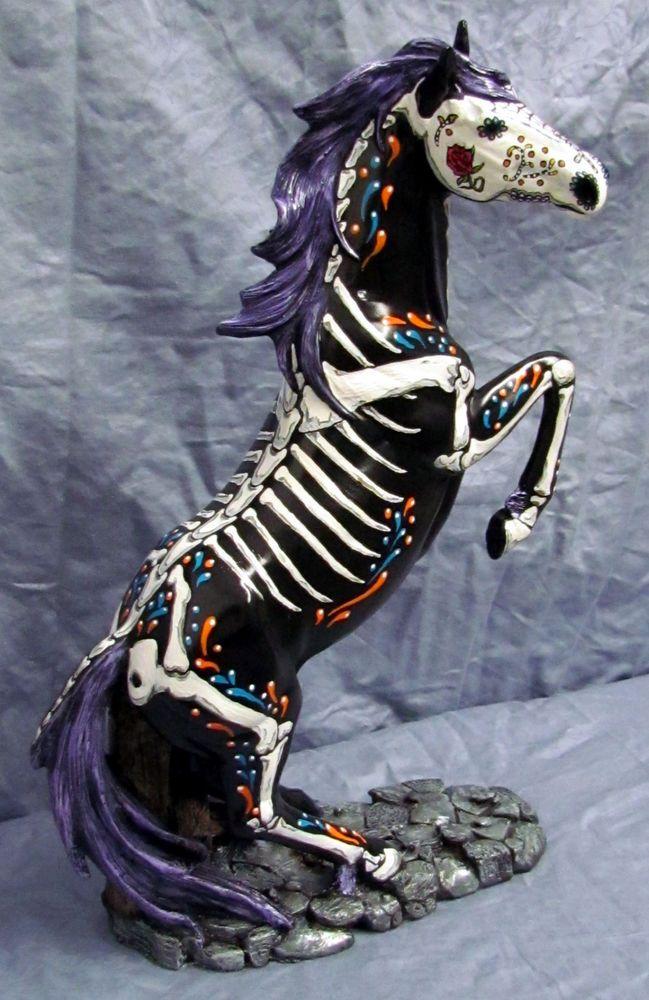 Day of the Dead Painted Sugar Skull Horse Statue Figurine Dia De Los Muertos