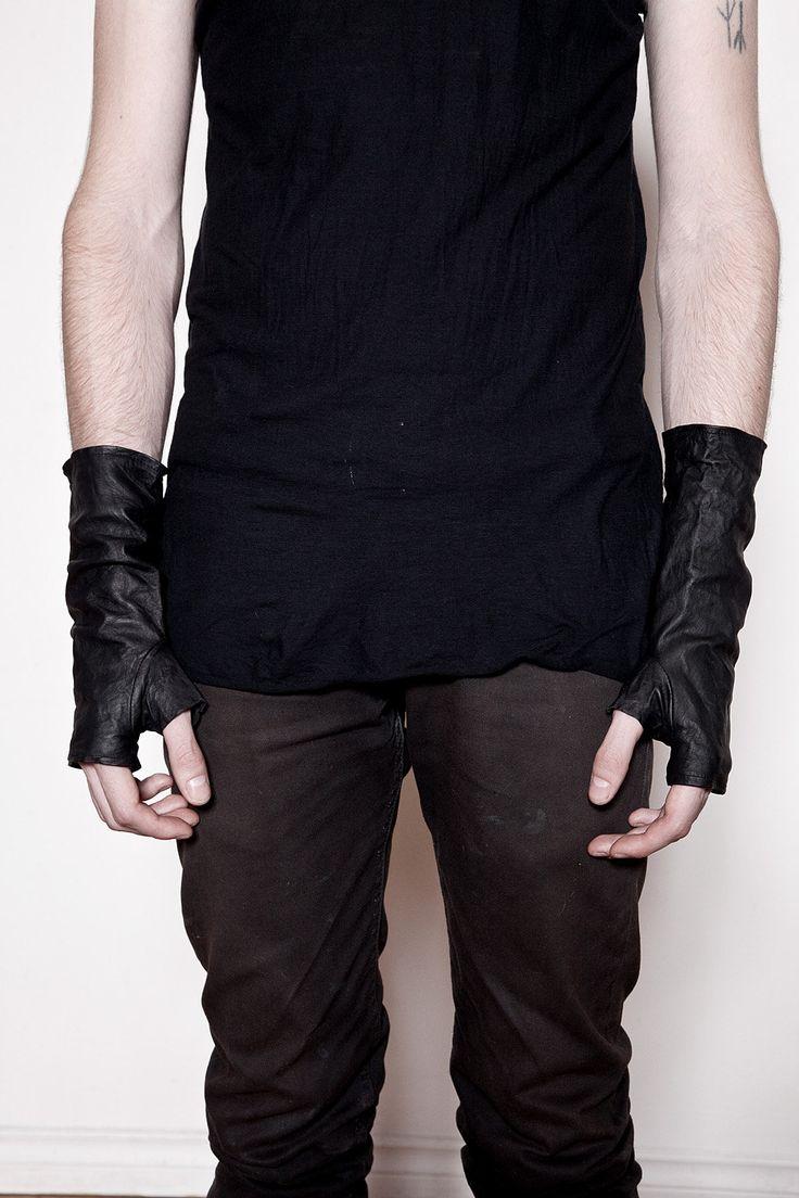 Fingerless gloves h m - Mens Black Washed Leather Fingerless Gloves 90 00 Via Etsy