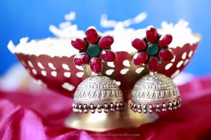 Antique Silver Jhumkas, Silver Jewellery Jhumkas, Silver Jhumka Designs, Silver Jhumkas with Rubies.