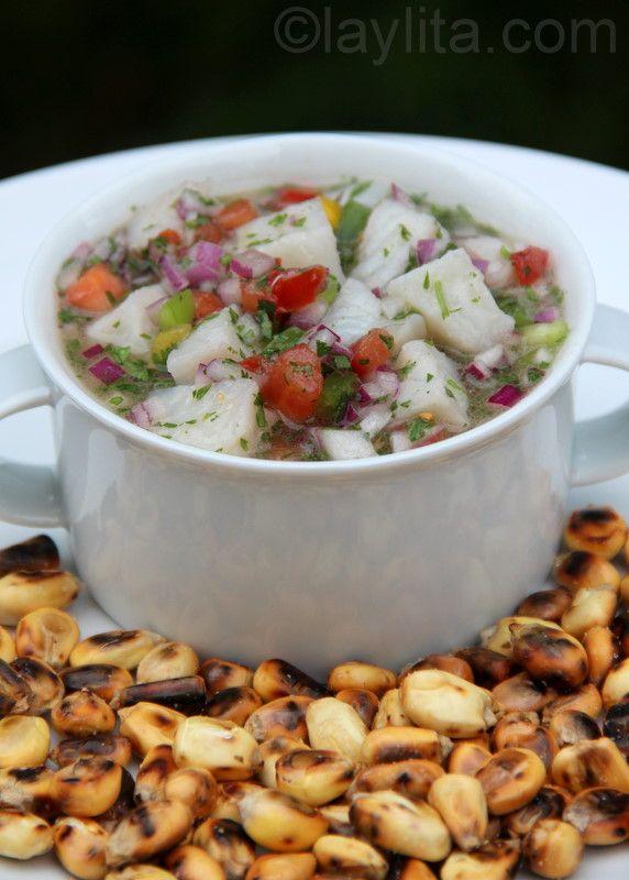 Ceviche-receta lleva pescado, cebolla roja, culantro, lima, sal y aceite