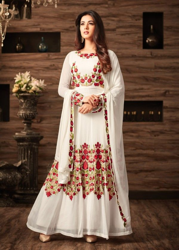 837ba59184 BEAUTIFUL WHITE PARTY WEAR ANARKALI STYLE SUIT STARING SONAL CHAUHAN ...